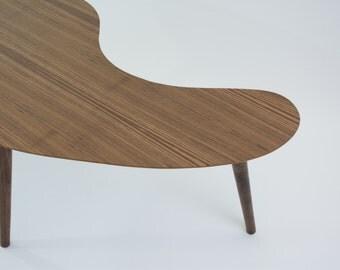 Mid-Century Modern Coffee Table - Walnut (Kidney Bean/Boomerang) - Medium Size
