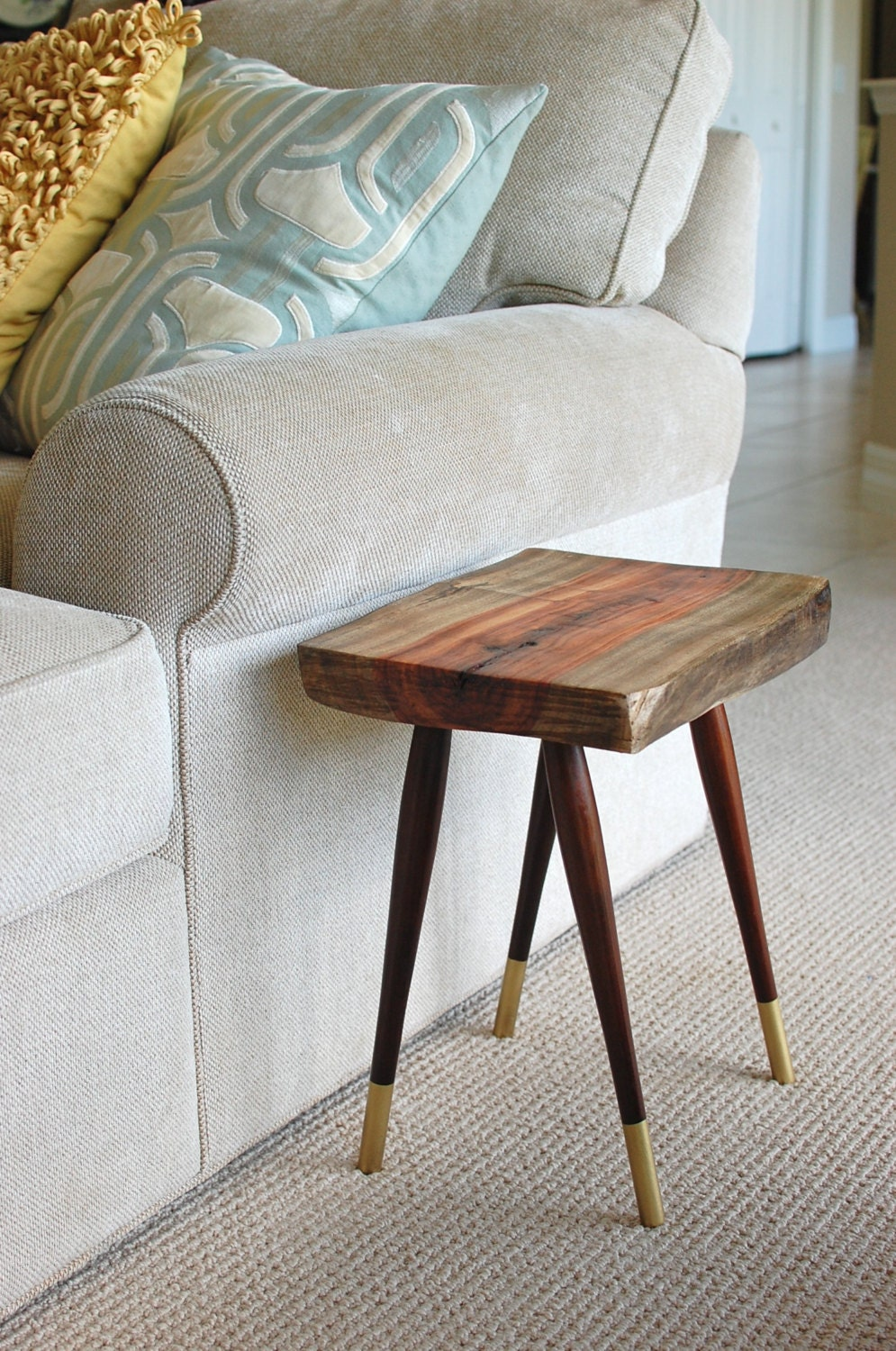Tree stump slice side table reclaimed wood by for Wood stump end table