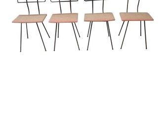 Set of 4 Vintage Industrial Metal Chairs