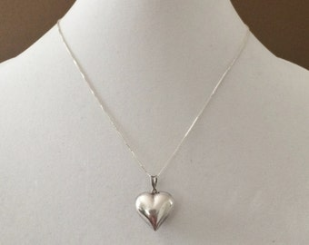 """Sterling Silver Puffy Heart Necklace 18"""""""