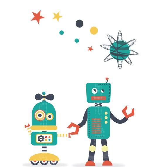 SET de 3 ilustraciones- Robots - Poster  - Ilustracion Vintage  - Hipster - Regalos Bebe  - Arte Infantil - Onda Retro - Hipster