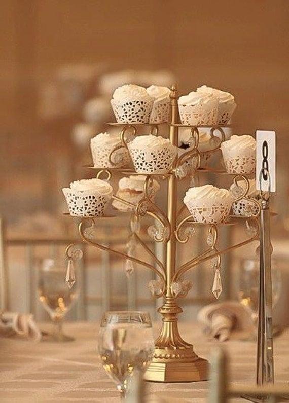 gold cupcake candelabra cupcakes stand vintage wedding gatsby