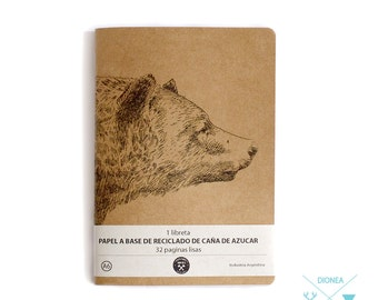 moleskine notebook journal  A6 whit bear print in ecological plain paper