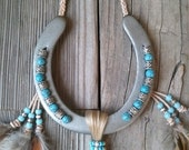 DECORATED Horseshoe Inspired by Native American Gift for Cowgirl Cowboy Country Western Home Wall Art Decor Equestrian Good Luck Horse Shoe
