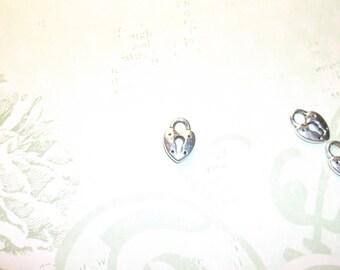 charm pendent silver tibetan  heart shaped lock 10 pcs