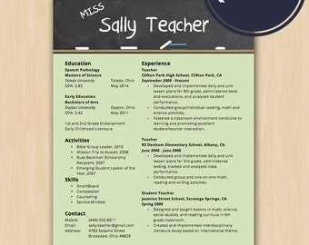 Teacher Resume | Etsy  Teacher Resume