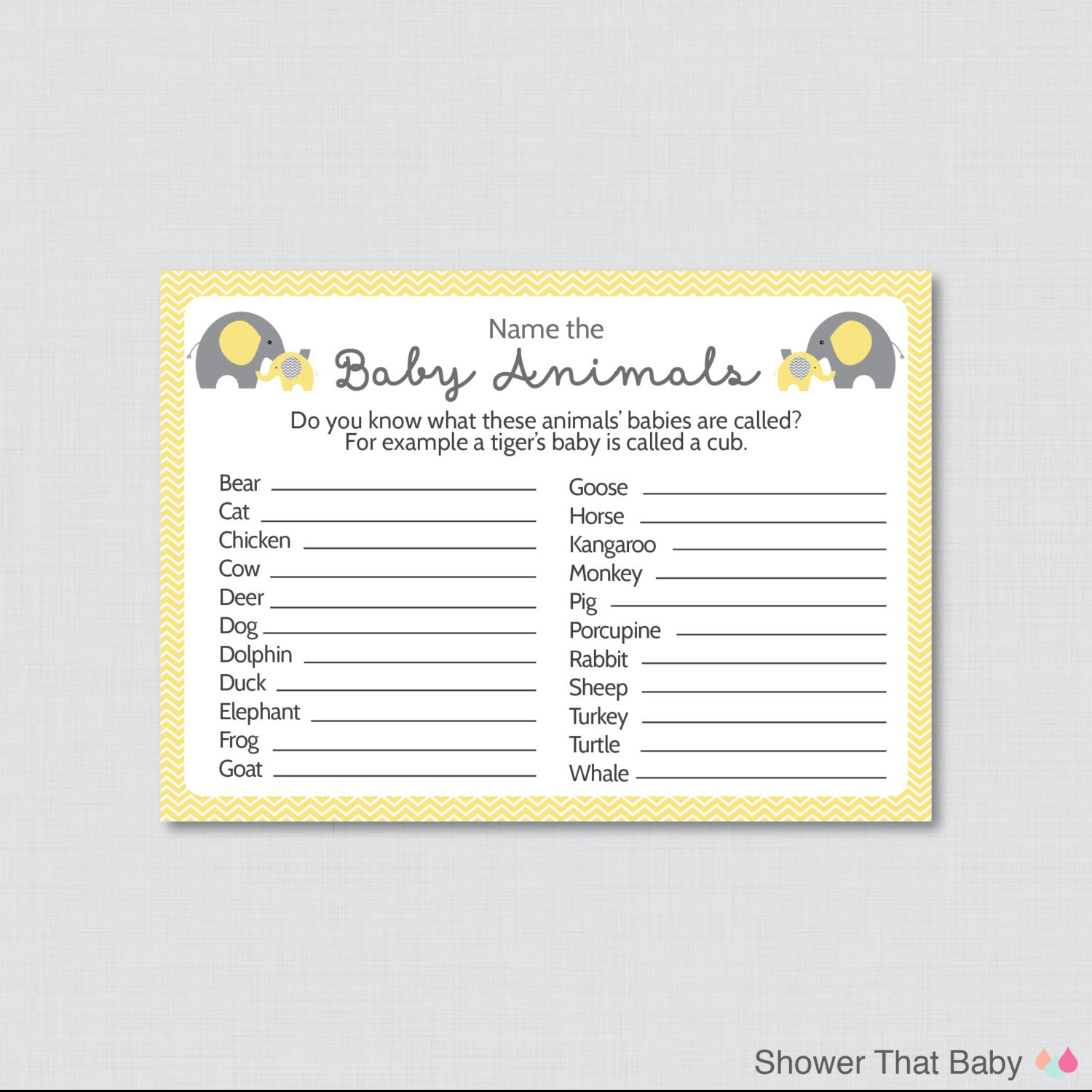 Baby Shower Game Name The Baby Animal: Baby Animals Name Game Baby Shower Printable Elephant Baby