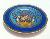 Versace 'Les Trésors de la Mer' Bread and Butter Plate - Blue Coral Gold - Steam Punk Rosenthal Collectors Item Deep Ocean Hues Old Lovely