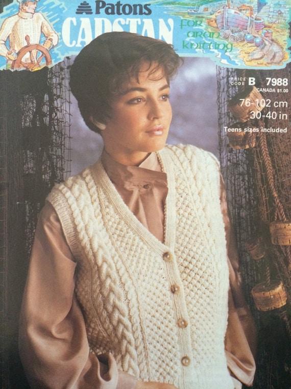 PATONS Waistcoat Knitting Pattern Booklet 7988 For Aran