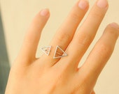 Triangle Ring - Silver Triangle Ring - Thin silver Ring - Geometric Ring - Silver Geometric Ring - Triangles Ring - Two Triangle Ring