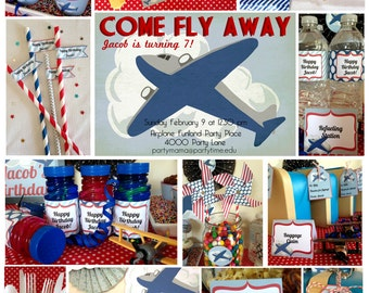 Airplane Birthday Party Printable Set & Invitation, INSTANT DOWNLOAD airplane invitation, Vintage Plane Party, Kids plane party package