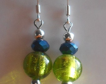 Green and blue glass dangles