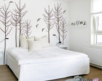 Large Blossom Tree Vinyl Wall Decal with Birds Mural - NT025