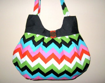 HOBO BAG - Purse, Chevron, Chevron Shoulder Bags, Chevron Handbags, Made To Order