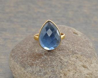 Kyanite Quartz Ring - 10x14mm Pear Ring- Bezel Jewelry - Gemstone Ring - Sterling Silver Ring - Birthstone Ring - #1018