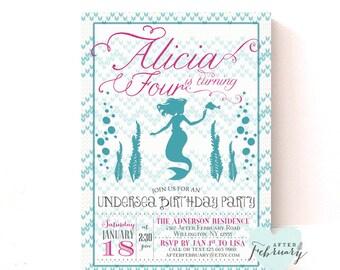 Mermaid Birthday Invitation - Mermaid Party Girl Undersea Little Mermaid Birthday - Mermaid Tail Pattern Background -  Printable No.328KIDS
