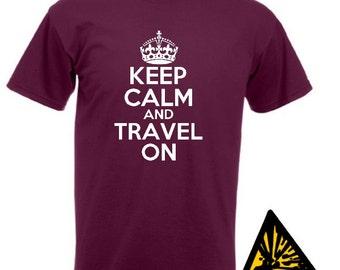 Keep Calm And Travel On T-Shirt Joke Funny Tshirt Tee Shirt Gift