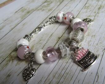Birthday Cake Bracelet, Happy Birthday Bracelet, Pink Bracelet, Silver Bracelet, European Style Bracelet,White Bracelet, Pink Charm Bracelet