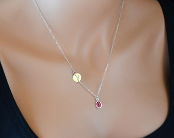 Initial Disc Necklace, Personalized Necklace, Sterling Silver, Rose Swarovski Crystal, Handstamped, Simple Necklace