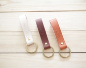 Brass Leather Keychain -  Key fob with Brass Keyring, Vegetable tanned leather key chain
