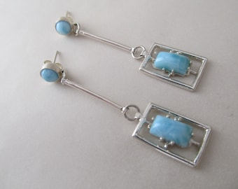 Falling Waters - Sterling Silver and Larimar Earrings