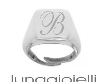silver Ring Customizable with Letter   -  Adjustable Ring  -  Square Ring