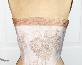 Taupe Stripe & Tan Floral Reversible Ren Faire Short Bodice/Corset, Size M