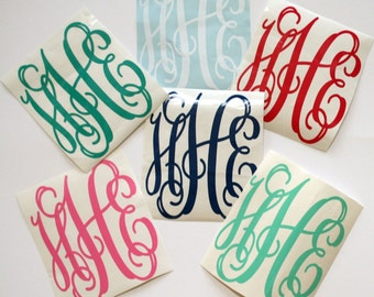 3 Initial Vine Interlocking Personalized Vinyl Monogram Sticker Decal Assorted Sizes High Quality DIY