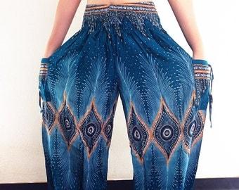 Women Harem Pants Yoga Pants Aladdin Pants Maxi Pants Boho Pants Gypsy Pants Rayon Genie Pant Hippy Pants Trouser Green Teal (TS46)
