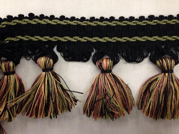 Black And Multicolored Elegant Tassel Fringe By The Yard