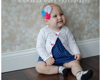 Pink and Blue Polka Dot shabby headband