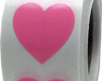"Pink Heart Shape Stickers | 3/4"" x 3/4"" Adhesive Heart Stickers 