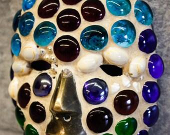 "Mosaic Style Mask (Small) - Glass Stones on Metal Base, 5"" x 6"""