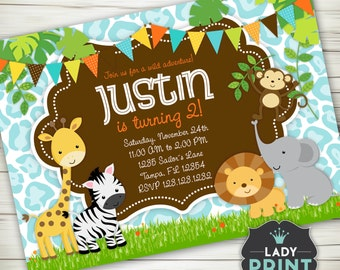 Little Jungle Animals Safari Boy Birthday Invitation. Printable invitation. Digital File Customized Party Invitation