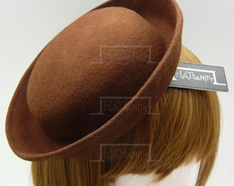 TRENDY Fashion Plain Wool Felt Mini Bowler Hat Fascinator - Brown