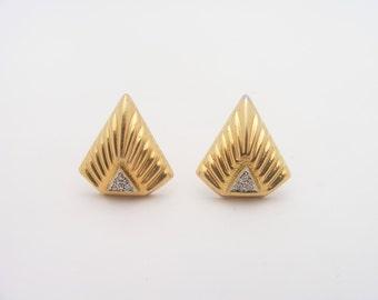 Vintage Diamond Earrings.14K Yellow Gold