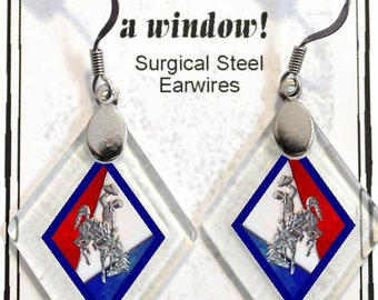 "Earrings ""Wyoming Bucking Horse & Rider(TM) in Red, White and Blue"" from rescued, repurposed window glass~Licensed Product"