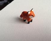 Miniature Fox  Sculpture, Polymer Clay Fox Chub, Semi-Realistic, Fox Animal Totem
