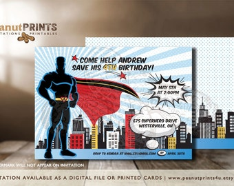 Super Hero Birthday Party Invitation - Printed OR Digital File - by peanutPRINTS