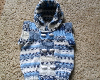 Already Knitted And Available For Sale Baby Boys Capped Sleeved Hoodie Age 0-3 months Blue Mix