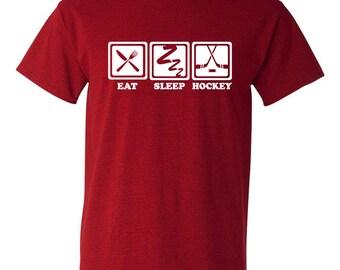 Eat Sleep Hockey Tshirt, hockey tshirt, gift for a hockey player, hockey lover tshirt, hockey player tshirt BD-071