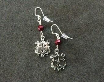 """Fancy Fleur de Lis Earrings with """"Garnet"""" Colored Czech Beads"""