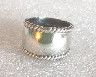"""925 sterling silver wide band ring sz 6 1/2""""H"""