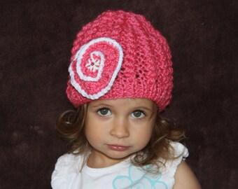 Knitted dark pink hat. Girls flower hat. Crochet hat.  30% wool. Age 2-3