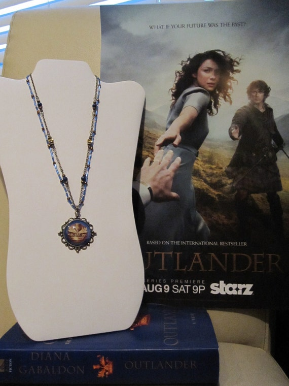 Outlander inspired bronze and cobalt blue beaded glass pendant necklace