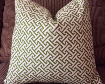 Handmade Decorative Pillow Cover - Green - Geometric - Waverly Cross Section Green