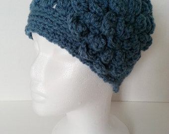 Sale - Blue Crochet Beanie with Flower - Blue Crochet Hat for Women - Crochet Beanie with Flower Applique - Winter Beanie - Ready to Ship