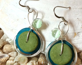 Blue Green Earrings, Colorful Earrings, Lime Jewelry, Green Earrings, Boho Jewelry, Lime Green, Lime and Turquoise