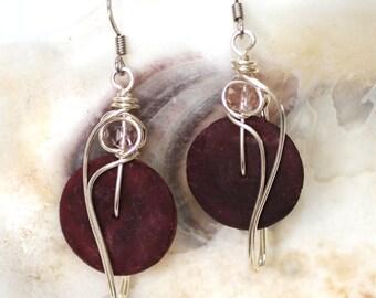 Plum Earrings, Wire Wrapped Jewelry, Purple Dangle Earrings, Plum Jewelry, Plum Purple Earrings, Fiber Earrings, Organic Earrings