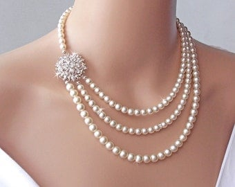 Bridal Necklace - Brooch Necklace, Wedding Necklace, Pearl Necklace, Vintage Necklace, Bridal Jewelry, Statement Necklace -VICTORIA